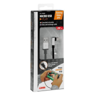 Cable de carga USB LAMPA tipo angulado Micro USB 200cm negro