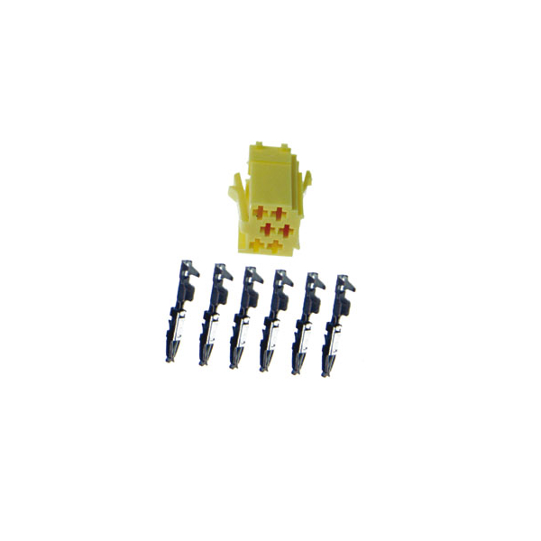 6 polige Mini-ISO Buchse, gelb mit Einzelkontakten