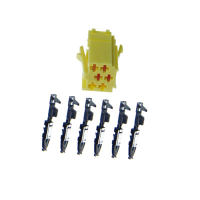 6-pin mini-ISO socket, yellow with individual contacts