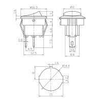 AMPIRE Mini-Schalter, 1xE/A, 16.3mm