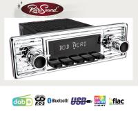"""RETROSOUND Autoradio mit RDS, USB, Bluetooth A2DP, Freisprecheinrichtung und DAB+  Komplett-Set """"Gullwing"""" mit Zubehör"""