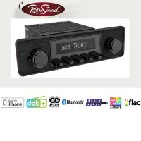 """RETROSOUND Autoradio mit RDS, iPhone Steuerung, USB, Bluetooth A2DP, Freisprecheinrichtung und DAB+  Komplett-Set """"Black"""" mit Zubehör"""