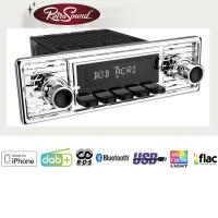 """RETROSOUND Autoradio mit RDS, iPhone Steuerung, USB, Bluetooth A2DP, Freisprecheinrichtung und DAB+  Komplett-Set """"Gullwing"""" mit Zubehör"""
