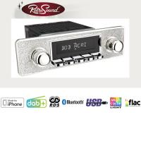 """RETROSOUND Autoradio mit RDS, iPhone Steuerung, USB, Bluetooth A2DP, Freisprecheinrichtung und DAB+  Komplett-Set """"Silver"""" mit Zubehör"""