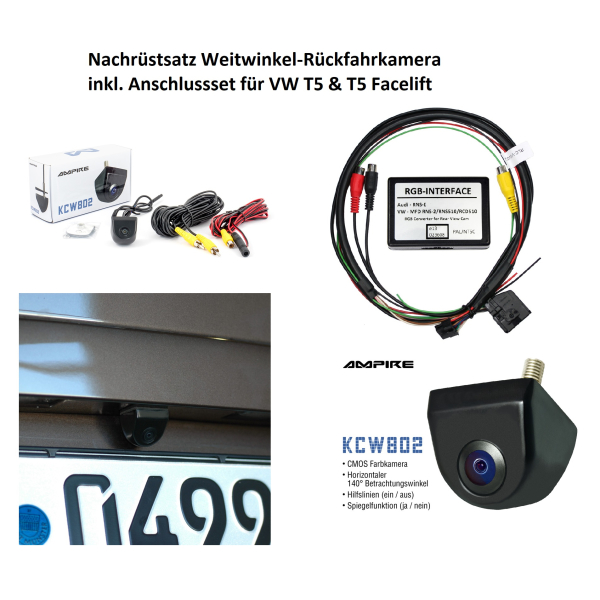 Retrofit kit accessories wide angle rear view camera for VW T5 and T5.2