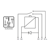 NAGARES relay 22 amps with protective diode, 24 volts