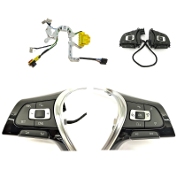 Conversion set from leather steering wheel to multifunction steering wheel for VW Caddy 4