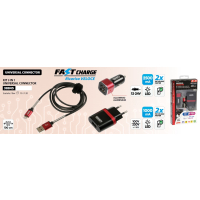 USB 3 in1 Kit LIGHTNING/MICRO USB - FAST CHARGE 12/24 V