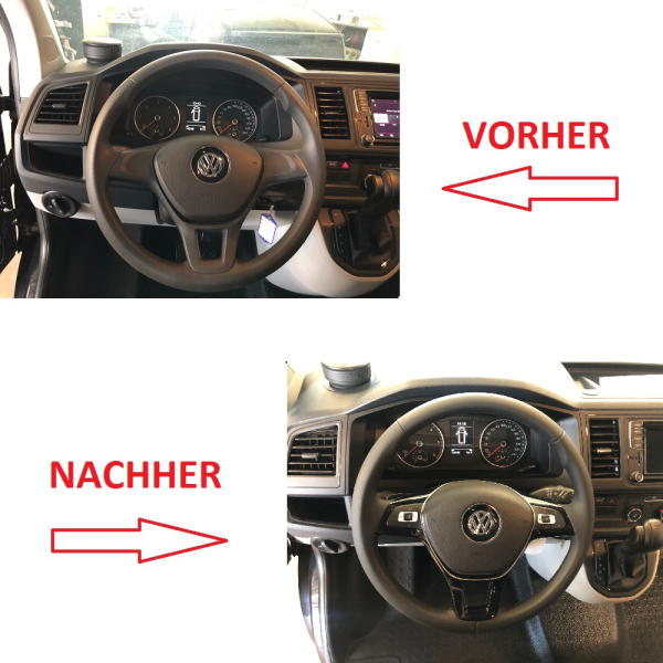 Retrofit kit leather - multifunction steering wheel for VW T6 (complete kit for retrofitting vehicles with plastic steering wheel)